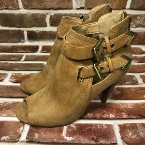 G by Guess Tan Peep Toe Booties